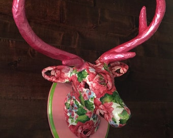 Deerhead pink floral decoupaged paper mache mounted on wood plaque
