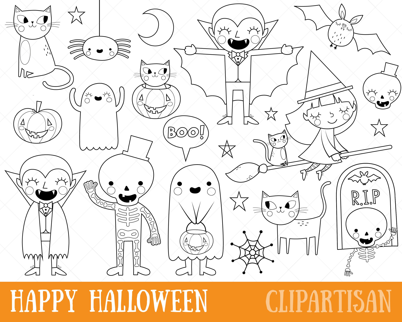 Sellos digitales de imágenes prediseñadas de Halloween Trick