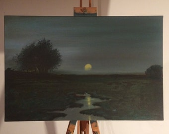 tonal painting, panel painting, night swamp painting, swamp panting, swamp, night painting, landscape tonal painting, oil painting, tonalism