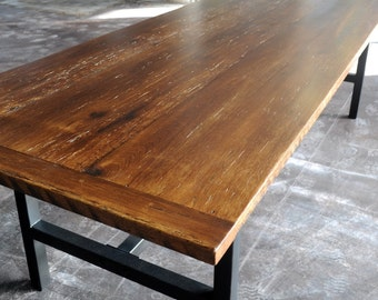 Wood and Steel Harvest Table