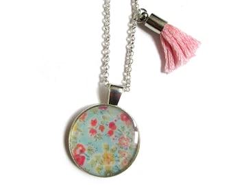 BLUE FLOWER NECKLACE - Flower Girl Necklace - Bridesmaids Gift