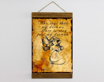 """Wood Frame Included The Little Mermaid Quotes Canvas Print Wall Art 8.7'' x 11.8'' or 11.8"""" x 15.7"""" Canvas Illustration,Ready to Hang  b125"""