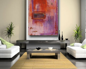 Abstract art painting on sale modern art orange and purple contemporary art urban loft decor original painting on canvas large 36 x 48