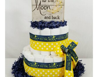 I Love You Diaper Cake| Love You To The Moon| Love You To The Moon Baby Shower| Love You To The Moon Diaper Cake| Baby Gifts| Diaper Cakes