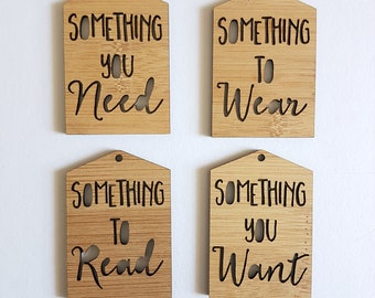 Gift Tags Something You Need-Something To Read-Something To Wear-Something You Want-Wooden Gift Tags-present-Christmas Gift-birthday