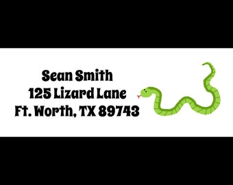 30 Personalized Return Address  Labels  -  Snake