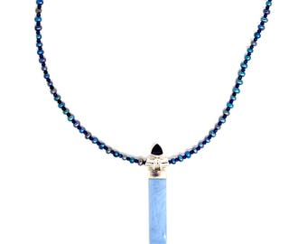 Sterling Silver Iolite Owyee Opal and Freshwater Pearl Necklace