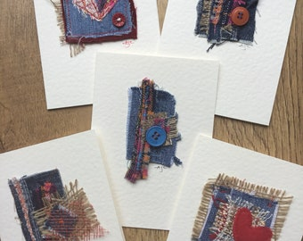 Handmade greeting card bundle, 5 blank cards, textile art collage, handmade art cards, recycled denim, any occasion cards, unique & unusual