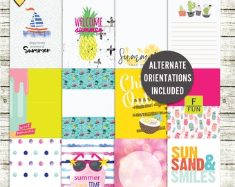 Summer Fun - Journal Cards - Instant Download - Printable journaling cards for Project Life and digital scrapbooking