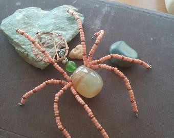 Orange Orb Weaver Spider Pendant