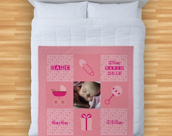 Personalised Baby Girl Photo Design Soft Fleece Blanket Cover Throw Over Sofa Bed Blanket New Baby Birth Gift