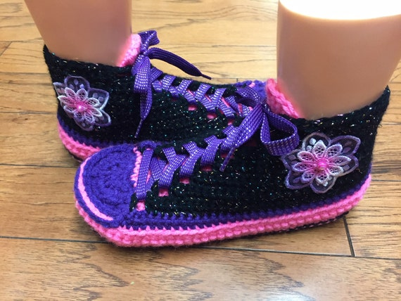 pink tennis tennis 8 shoes 393 crochet crochet 10 purple tennis List slippers sneaker Womens slippers shoes flower slippers Crocheted shoes SPqX4