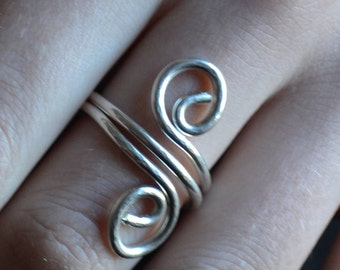 sterling silver ring, adjustable ring, silver curl ring