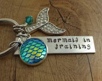 Mermaid Charm Keychain - Ocean Key Chain - Personalized Keychain with Mermaid Tail