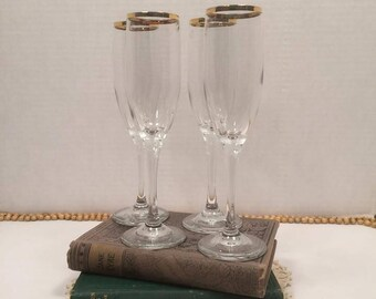 Champagne Flutes Thick Gold Rim Set of 4