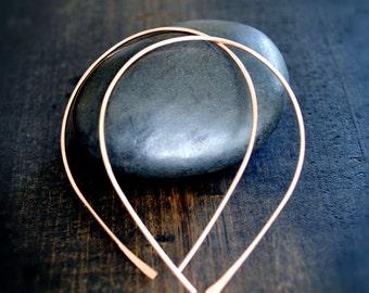 Thin Hoop Earrings - Gold Hoops - Dainty gold hoop earrings - Minimalist Jewelry - Raindrop Hoop Earrings