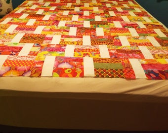 Art Deco Throw Quilt Top - Bright Colors of the Rainbow