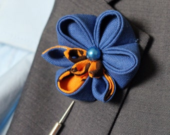 Royal blue and orange brown eco Orchid lapel flower, wedding boutonniere, lapel flower pin