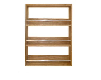 Solid Oak Spice Rack Contemporary Style 3 Shelves Freestanding or Wall Mounted Kitchen Storage