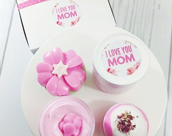 Personalized Mother's Day Gift Box. Spa Gift Set. ROSE Bath Gift Set. Bath Bomb Gift. Personalized Gift for Mom. Gift for Her. Floral Basket