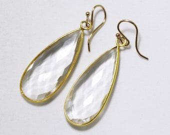 Quartz Gemstone Earrings Clear Quartz Teardrop Faceted Crystal Earrings Genuine Quartz Crystal Earrings April Birthstone BZ-E-139-CQtz/g