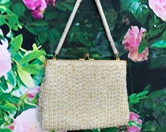 60s White Iridescent Bead Richere Purse Bridal Handbag