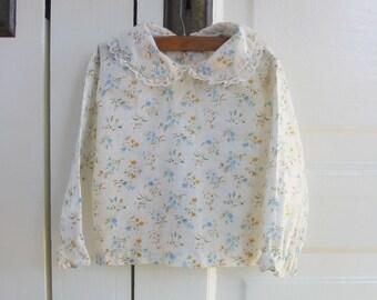 Vintage Girl Baby Shirt, Peter Pan Collar Shirt, Long Sleeve Shirt 12 months, Floral Baby Shirt