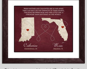 Mothers Day Gift - Mom Gift - Mom Long Distance Gift - Mother Daughter Gift - Mothers Day Poem - Mom Map