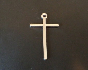 """Simple Silver Tone Cross Charm - 1 78"""" - Christian/Inspirational - Low Shipping"""