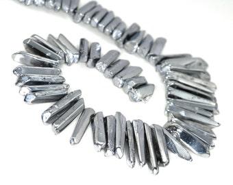 "Silver Mystic Quartz Titanium Quartz Sticks, Crystal Point 15"" Full Strand 72 pcs B88DR3520"