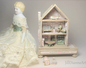 Last One - Doll's Dollhouse Cottage Playroom Toy 144 antique style 10 pc furniture - rabbit rose play table  Pink mint  Jill Dianne