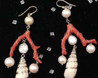 Coral Earrings Pearls Silver shells. Cleopatrartstones