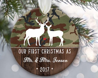 Our First Christmas as Mr & Mrs, Camo Ornament, Deer ornament, First Christmas married Personalized Christmas Ornament Hunter Gift OR899