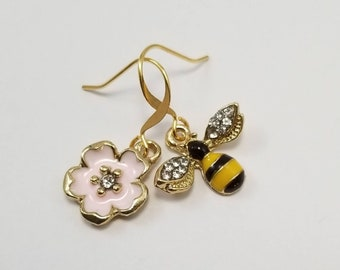 Honey Bee Earrings, Bee and Flower Mismatched Earrings, Cherry Blossom Earrings, Bee Jewelry, Bee Gift, Mismatched Earrings, Spring Jewelry
