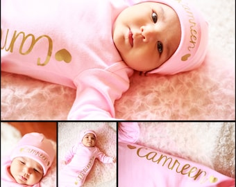 Baby Girl Pink Personalized bodysuit - coming home outfit  photo booth props baby shower gown baby gift - Hat sold separate