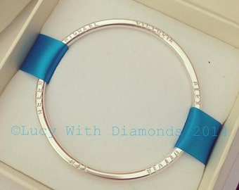 Heavy personalised bangle in sterling silver