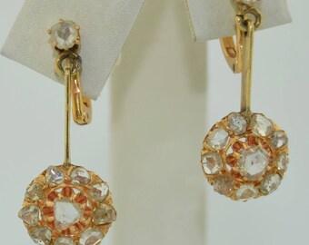 Victorian 14K Rose Cut Diamond Halo Dangle Earrings
