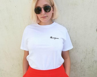 White Bonjour French Embroidered  Tshirt - embroidery-minimalist-fashion-aesthetic-stylish-casual-nice top-logo-pocket tee-mens-womens