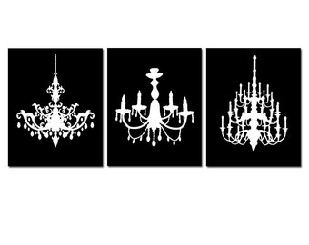 Modern Chandelier Trio - Set of Three Coordinating 8x10 Chandelier Prints - CHOOSE YOUR COLORS - Shown in Black and White