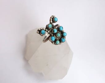 Vintage 50s Sterling and Turquoise Ring/ Pettipoint Zuni/ Native American Old Pawn Southwestern Statement Ring/ Size 8