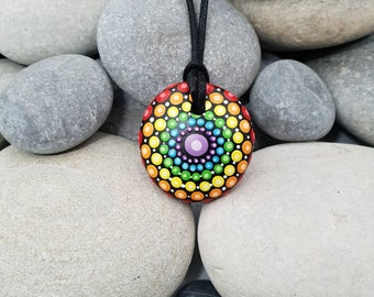 Chakra Painted Necklace - Rainbow Mandala Stone - Paint Rock - Mandala Meditation Rock - Rock Art - Dot Art - Hand-Painted Necklace
