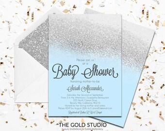 Blue & Silver Glitter Baby shower Invitation   Modern Glamorous Baby blue Shower Invitation   Elegant Feminine Baby Boy Shower Invite