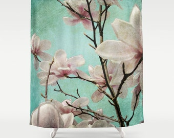 Shower Curtain, Turquoise, Magnolia, Botanical, 71x74 inches, 71x94 inches, Extra Long, Exceptional Quality, fPOE