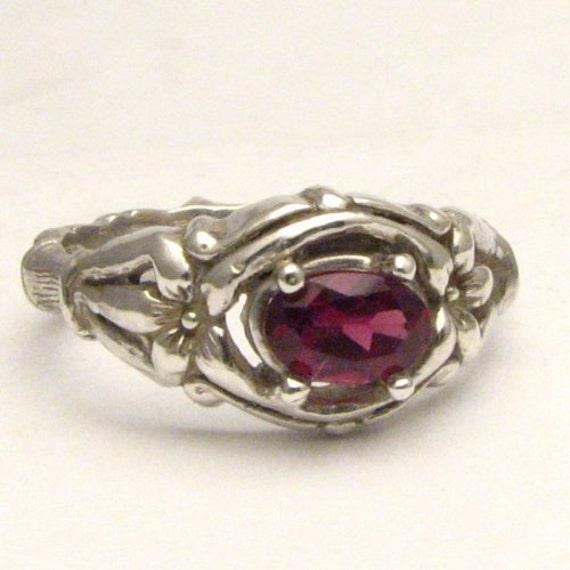 Handmade Solid Sterling Silver Red Garnet Bone Ring