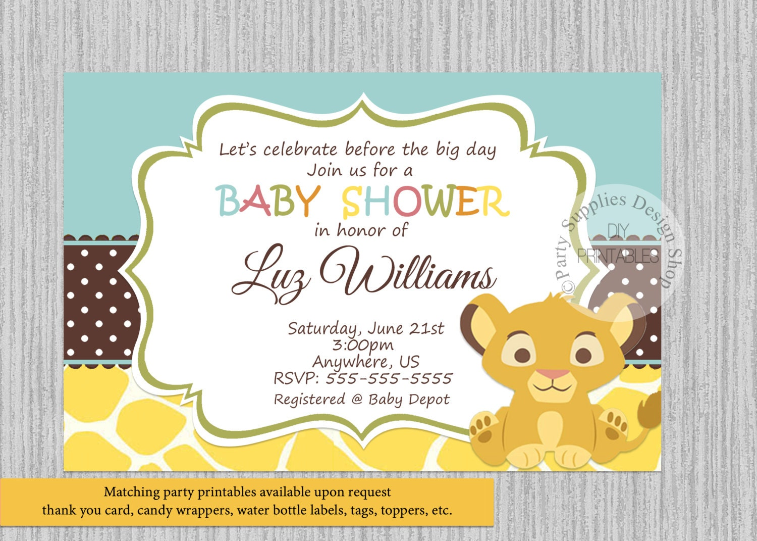 Simba lion king baby shower invitations simba baby shower description baby simba baby shower invitation filmwisefo Gallery