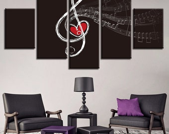 Love Music Canvas Set, Music Print, Music Wall Art, Music Notes Home Decor,  Gifts For Her, Gift For Him, Music Wall Decor, Music Lover Gift