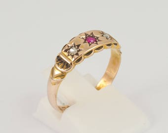 Antique Ruby & Diamond Ring 15ct Gold Victorian Period Jewellery Vintage Jewelry Vintage Rings Antique Jewellery Old Cut Diamonds
