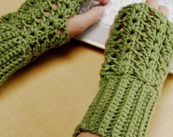 crochet fingerless glove wrist warmer gauntlet sage green wristlets