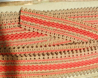 Indented stripe cotton red and Brown width 4.5 cm
