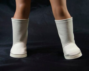 "BOOTS in ""Fawn"" Light GRAY Beige ""Leather"" for American Girl or 18 "" Doll"